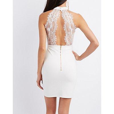 Lace-Back Keyhole Bodycon Dress