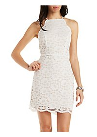 Lace Bib Neck Dress