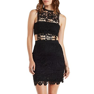 Bandeau Crochet Lace Bodycon Dress