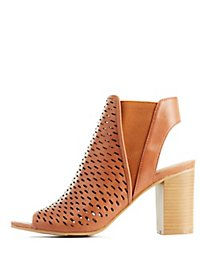 Perforated Peep Toe Booties