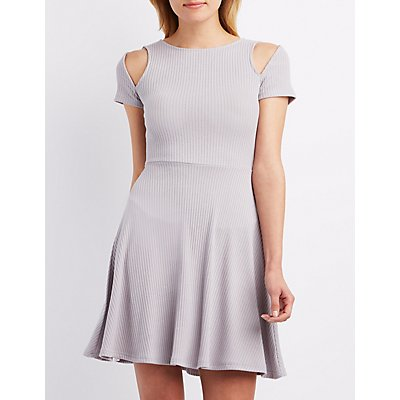 Cut-Out Ribbed Skater Dress