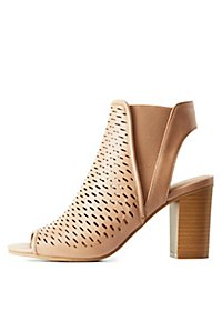 Perforated Chunky Heel Sandals