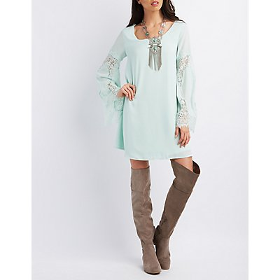 Lace Bell Sleeve Shift Dress