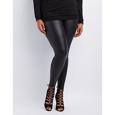 Plus Size High-Rise Liquid Leggings