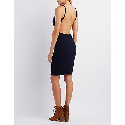 Open Back Ribbed Bodycon Dress