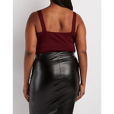 Plus Size Caged Sweetheart Crop Top