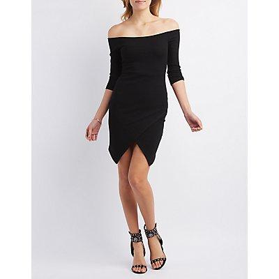 Envelope Hem Off-the-Shoulder Bodycon Dress