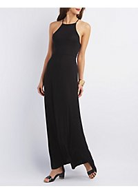 Lace-Up Bib Neck Maxi Dress
