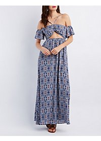 Cut-Out Printed Maxi Dress
