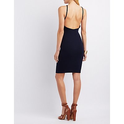 Ribbed Open-Back Bodycon Dress