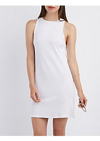 Ribbed Sleeveless Shift Dress