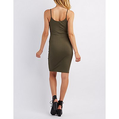 Lace-Up Ribbed Bodycon Dress