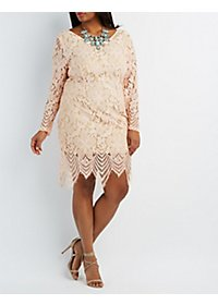 Plus Size Open Back Lace Midi Dress