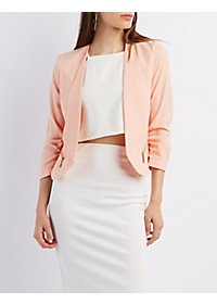 Zip Pocket Ruched Sleeve Blazer