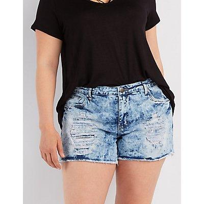 Plus Size Acid Wash Denim Shorts