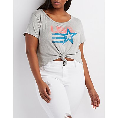 Plus Size Knotted Graphic Crop Top