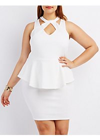 Plus Size Caged Cut-Out Peplum Dress