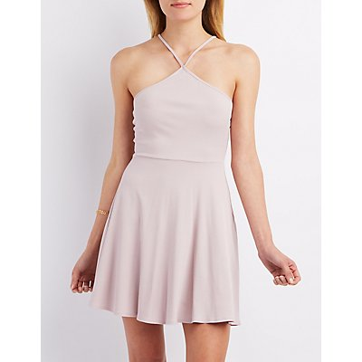 Ribbed Strappy Skater Dress