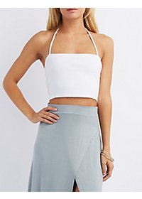 Caged-Back Halter Crop Top