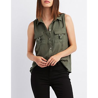 Sleeveless D-Ring Button-Up Top