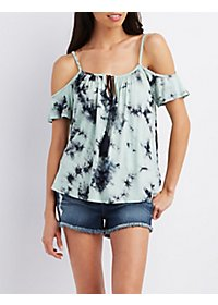 Tie-Dye Cold Shoulder Tee