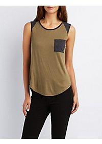 Crew Neck Pocket Tank Top
