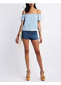 Pixie + Diamond Off-the-Shoulder Chambray Top