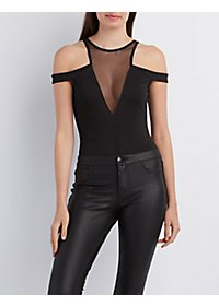 Mesh Yoke Cold Shoulder Bodysuit
