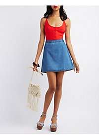 Pixie + Diamond Zip-Back Denim Skirt