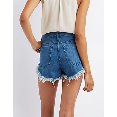 Pixie + Diamond Embroidered High-Rise Denim Shorts