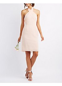 Chiffon Cross Front Halter Dress