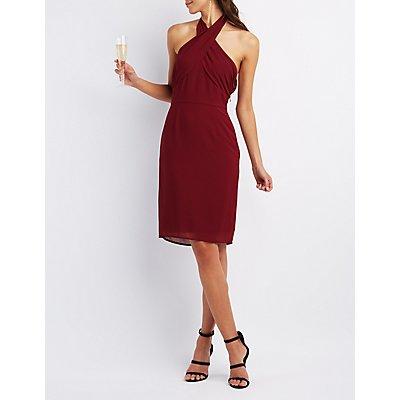 Chiffon Cross Front Halter Dress