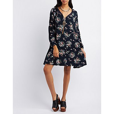 Pixie + Diamond Floral Print Shift Dress