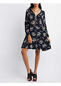 Pixie + Diamond Floral Print Shift Dress