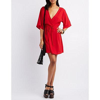 Pixie + Diamond Kimono Sleeve Surplice Dress