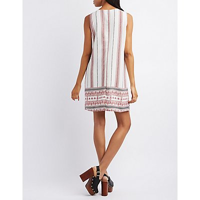 Pixie + Diamond Lace-Up Printed Shift Dress