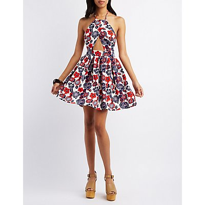 Pixie + Diamond Floral Print Halter Skater Dress