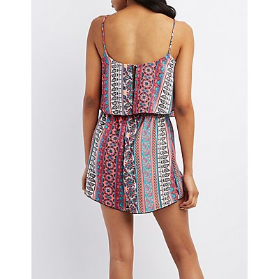 Paisley Print Cut-Out Romper