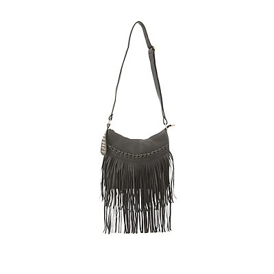 Studded Fringe Shoulder Bag