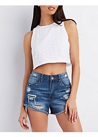 Sleeveless Eyelet Crop Top
