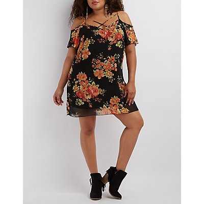 Plus Size Floral Print Shift Dress