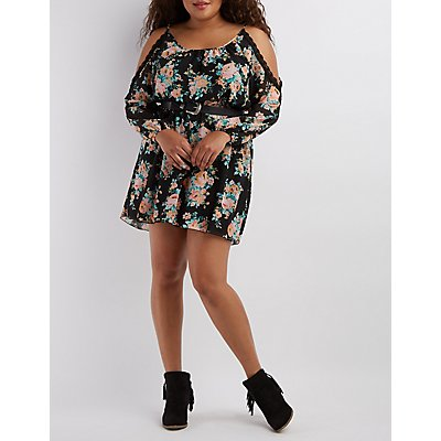 Plus Size Crochet-Trim Cold Shoulder Dress