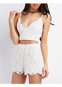 Floral Lace Sweetheart Crop Top