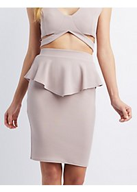 Peplum Midi Pencil Skirt