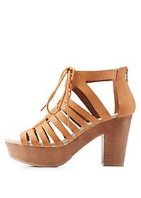 Qupid Lace-Up Platform Sandals
