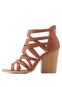 Qupid Caged Chunky Heel Sandals
