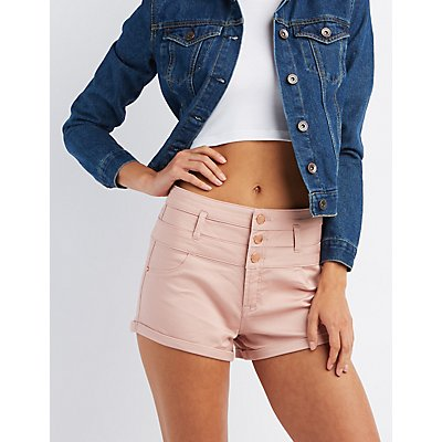 "Refuge ""Hi-Waist Shortie"" Colored Shorts"
