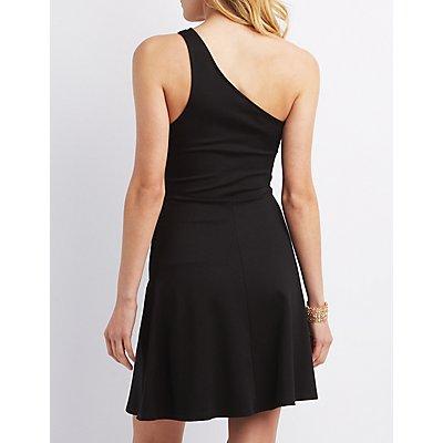 One-Shoulder Asymmetrical Skater Dress