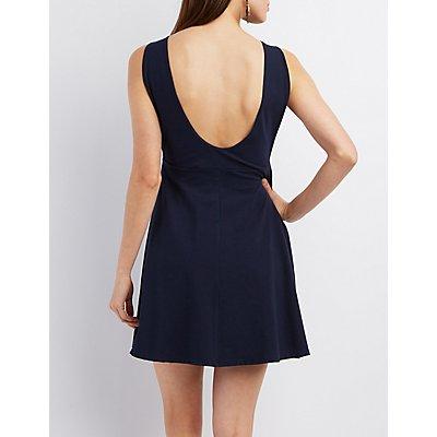 Open-Back Sleeveless Skater Dress