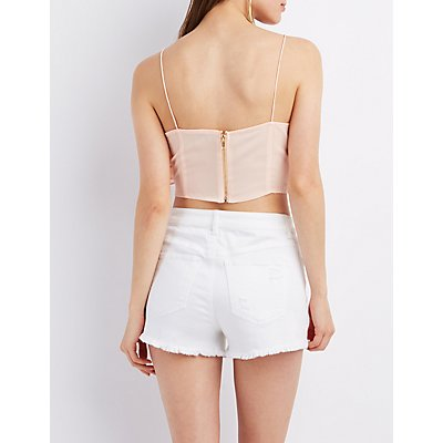 Ruffle Zip-Up Crop Top
